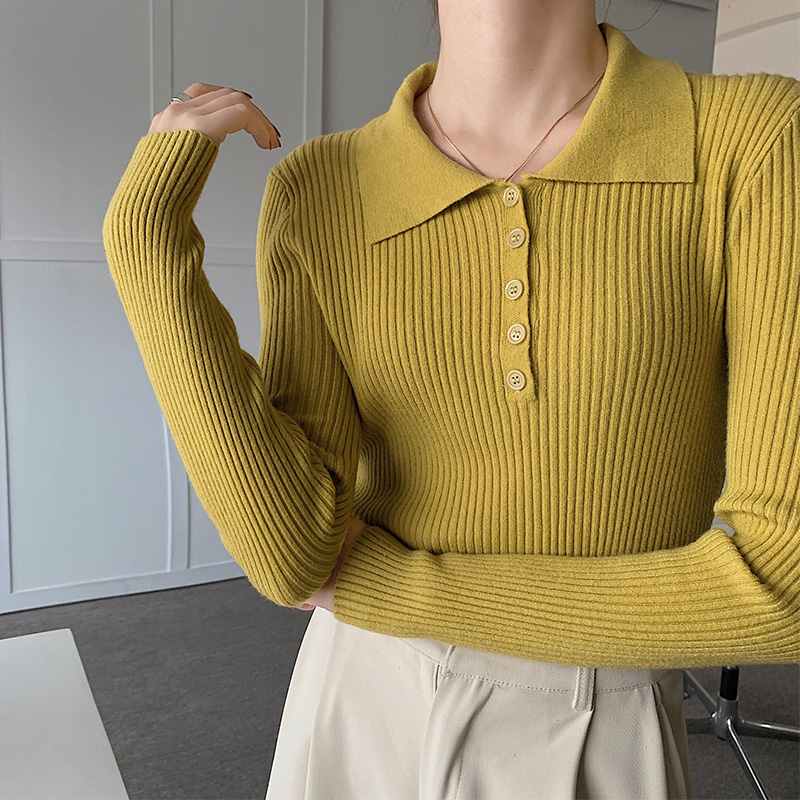Y1103#實拍實價 2021秋季新款黃色內搭打底衫POLO領修身針織衫女