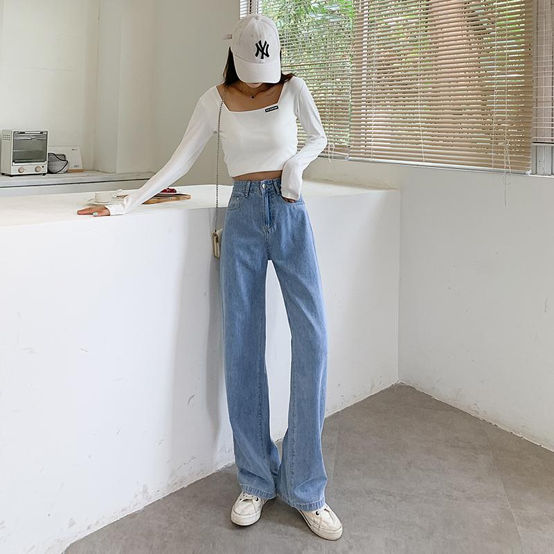 初秋新品實拍2021年 寬松直筒舒適簡約百搭牛仔褲女