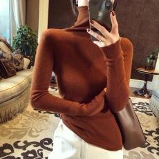 2021年秋冬羊毛衫套头打底毛衣女宽松高领修身针织上衣女士羊绒衫