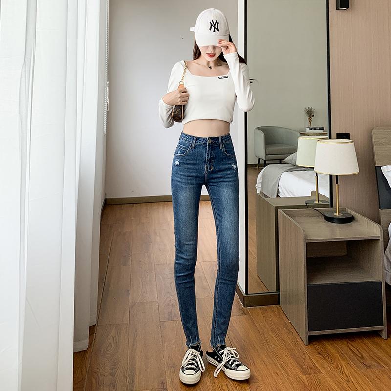 實拍韓版顯瘦百搭牛仔褲女小腳褲2021年秋季新款高腰彈力修身不規則長褲