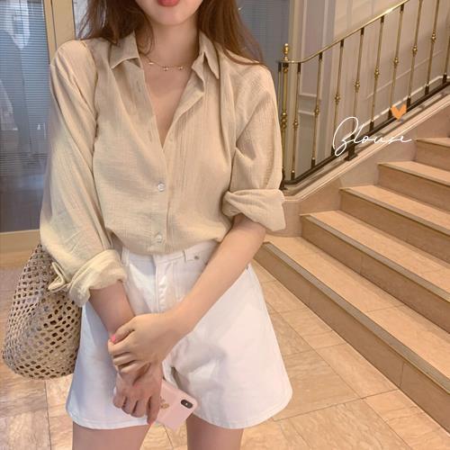 女设计感小众2021韩版新款宽松气质褶皱微透衬衫上衣女夏季