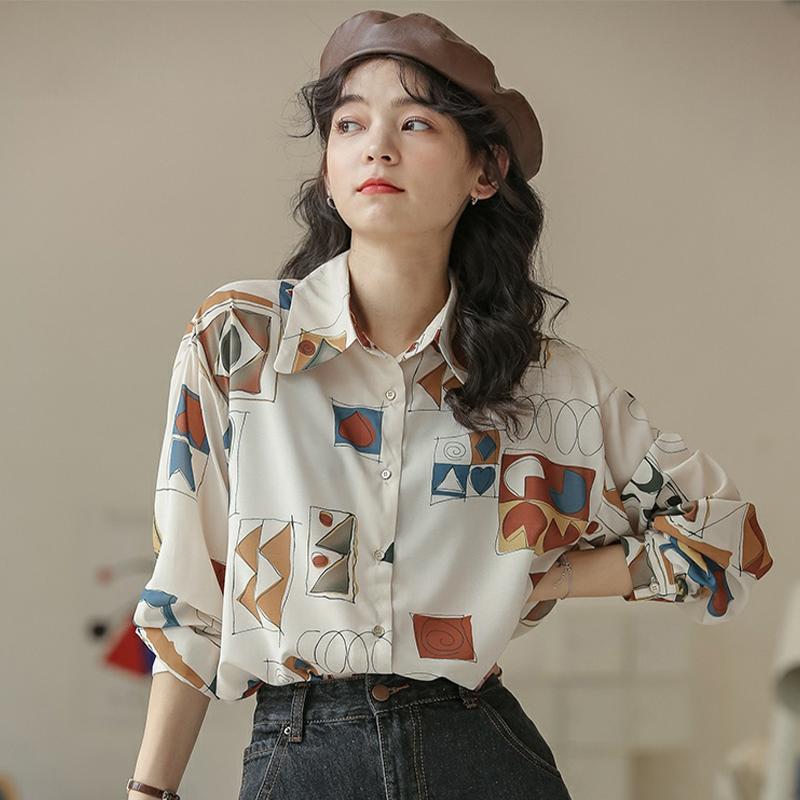 设计感复古印花宽松长袖衬衫女2021新款休闲衬衣薄款外套上衣