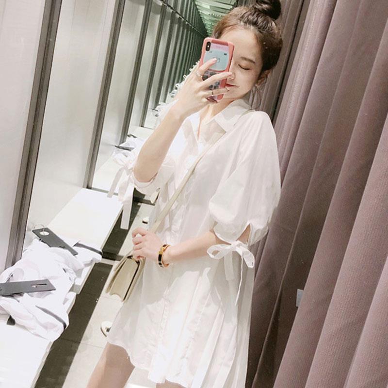 春夏装复古休闲宽松中长款白色衬衫女很仙的洋气衬衣裙娃娃衫