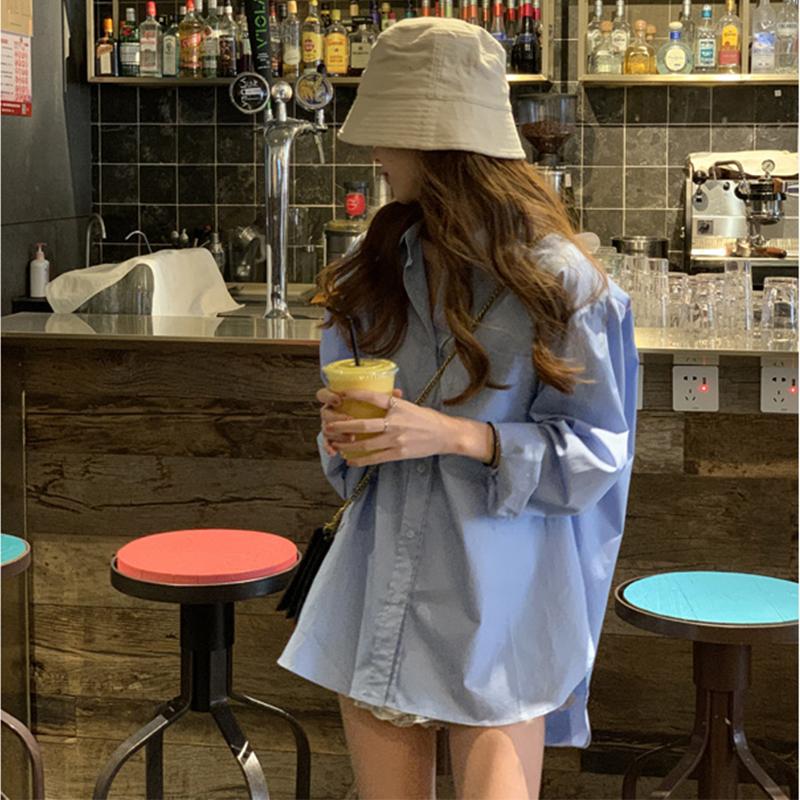 韩版宽松蓝色衬衫女设计感小众衬衣港风夏季百搭复古上衣