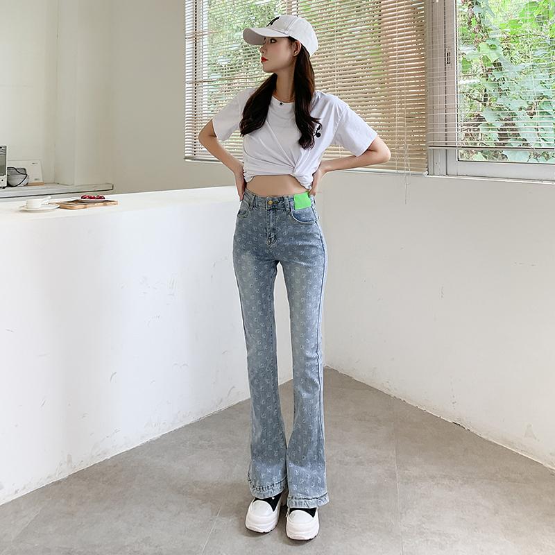 實拍2021年初秋新品 簡風最新版型修身馬蹄牛仔褲百搭女