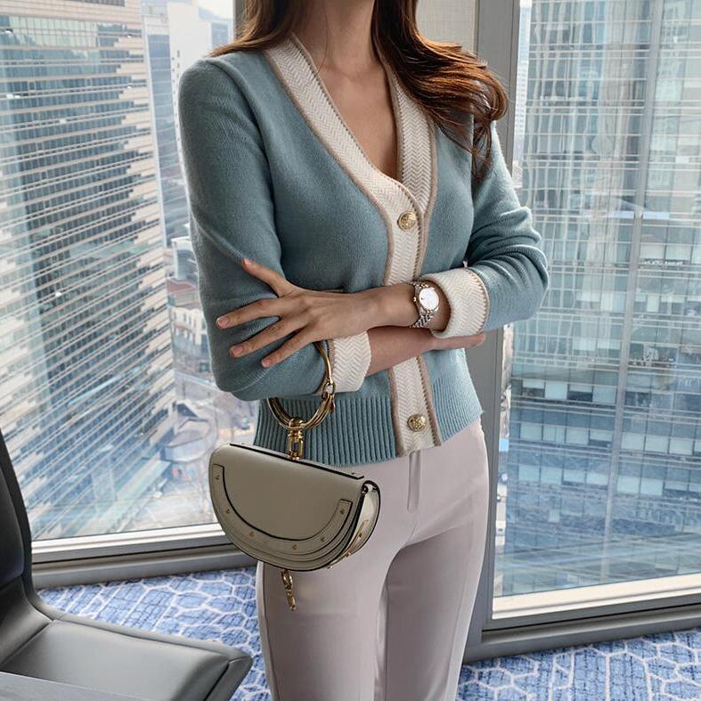 現貨 韓版小香風撞色V領金扣修身針織衫外套開衫