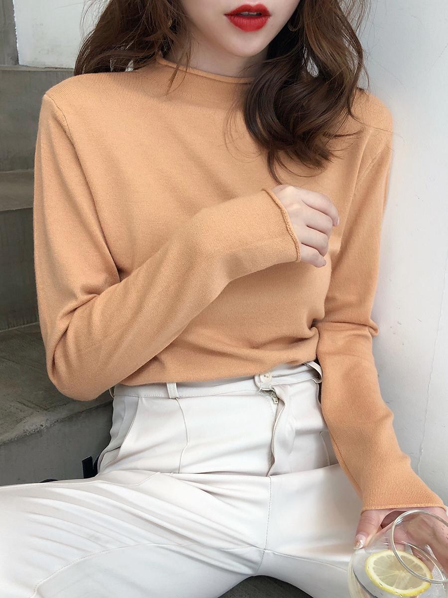 秋装2020年新款半高领针织衫薄款宽松外穿女士毛衣内搭打底衫上衣