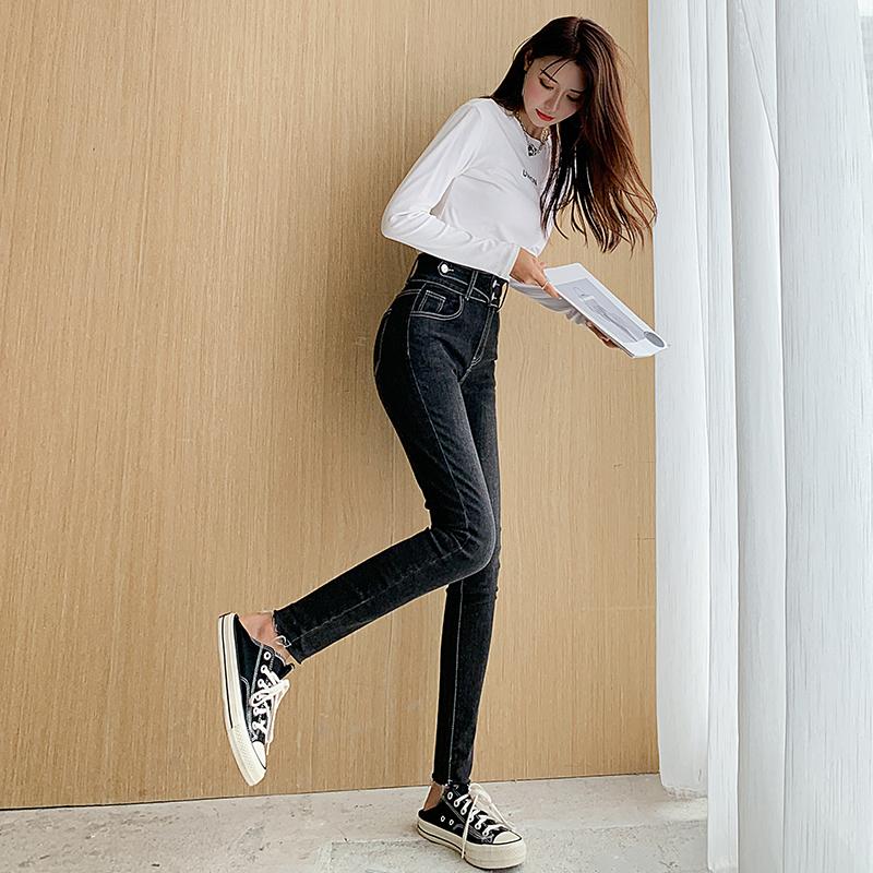 小腳牛仔褲女修身秋季2021年新款緊身高腰顯瘦百搭煙灰鉛筆褲子