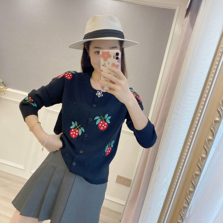 卡羅碧專柜正品2021秋季新款百搭氣質女裝外套圓領針織開衫