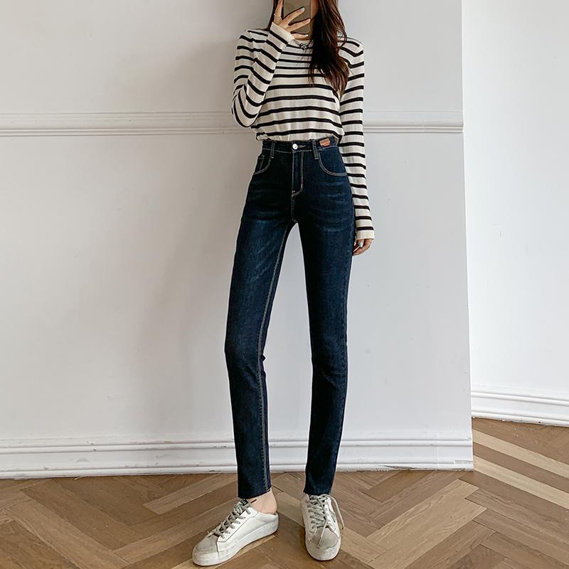 實拍牛仔褲女春秋2021新款韓版高腰顯瘦夏小個子小腳褲