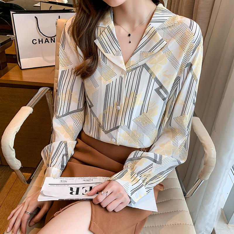 实拍西装领桑蚕丝衬衫女2021年秋季新款简约气质印花真丝长袖衬衣