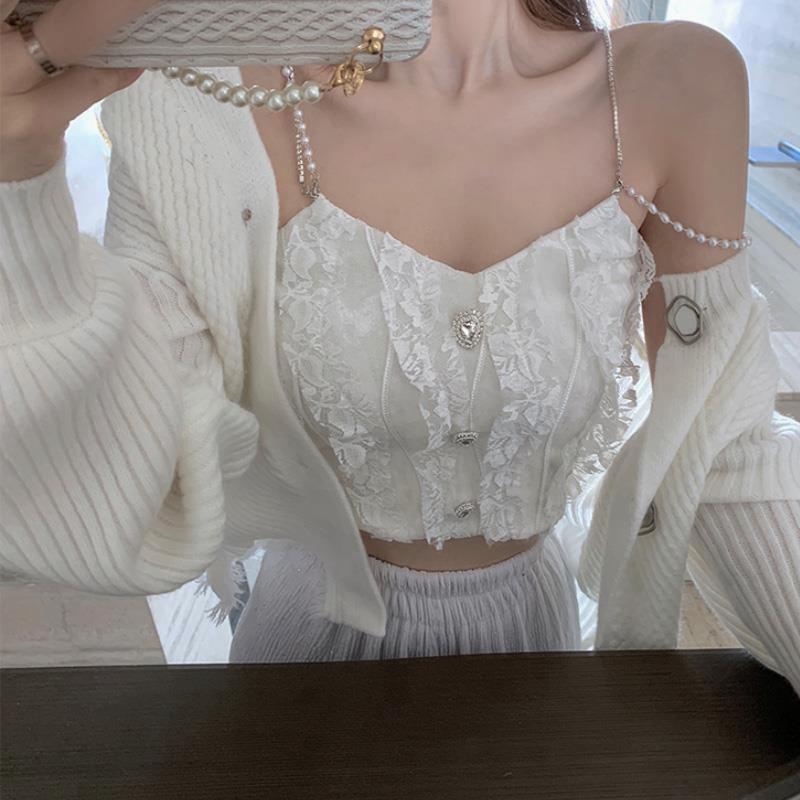 法式蕾絲吊帶背心女外穿潮修身短款設計感小眾純欲風內搭打底上衣