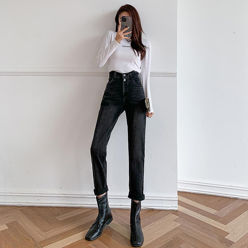 實拍牛仔褲女2021新款秋裝顯瘦高腰寬松直筒哈倫蘿卜春秋老爹褲子