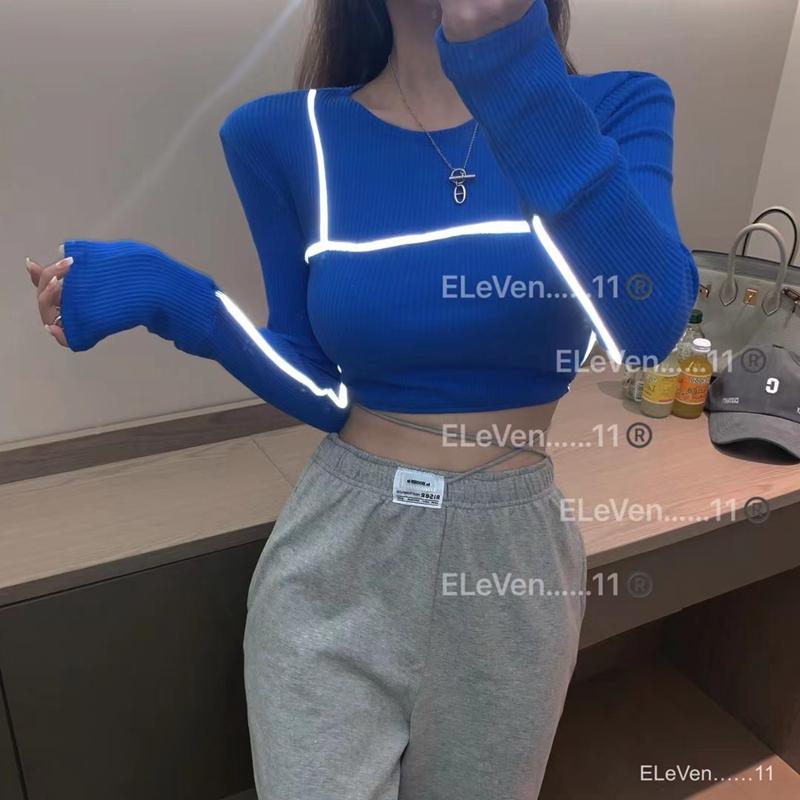韓版時尚短款拼接圓領長袖t恤女設計感露臍打底衫潮