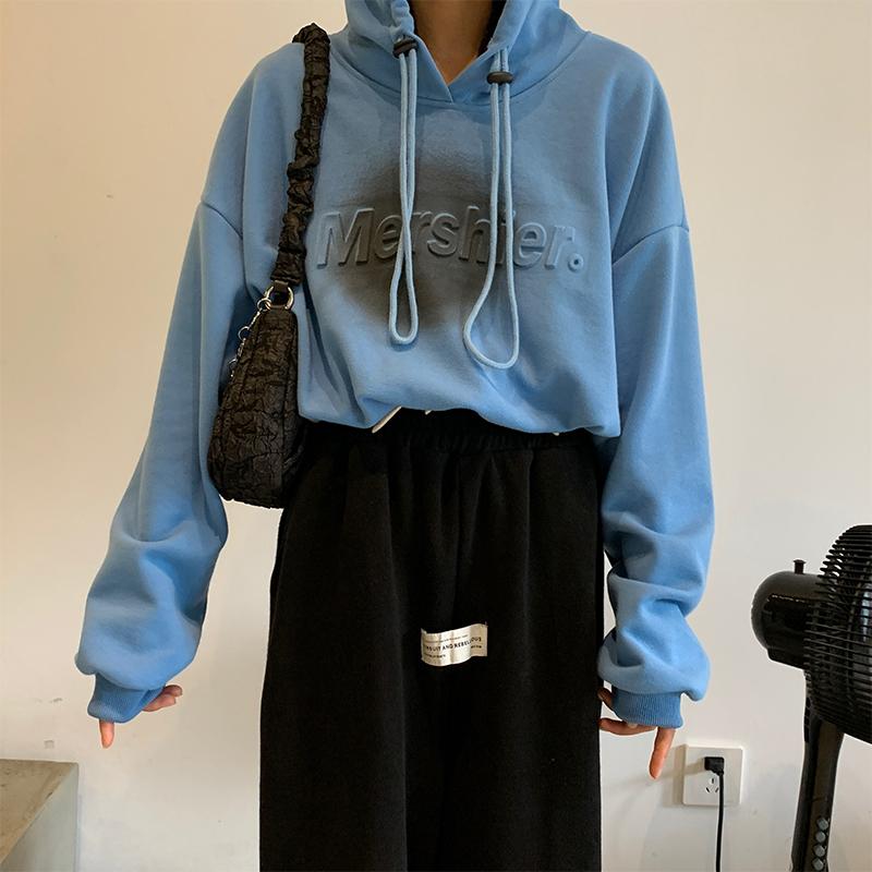 秋季新款韓版設計感抽繩連帽衛衣女時尚做舊寬松外套潮