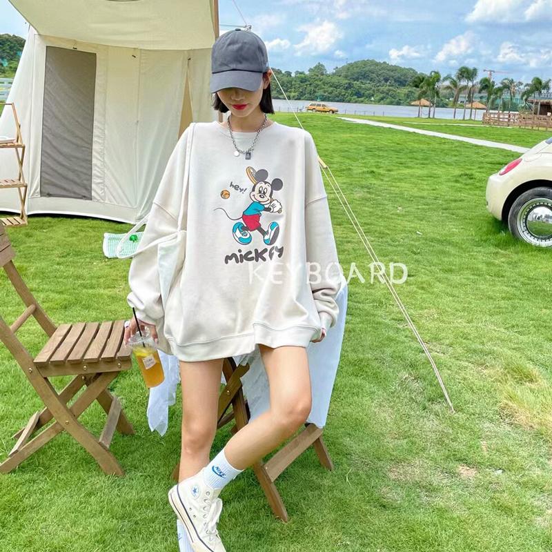 韓版秋款寬松上衣顯瘦減齡可愛卡通圖案套頭衛衣女