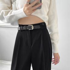 实拍 卡其色休闲款西裤女秋季高腰坠感宽松直筒拖地裤秋季阔腿裤