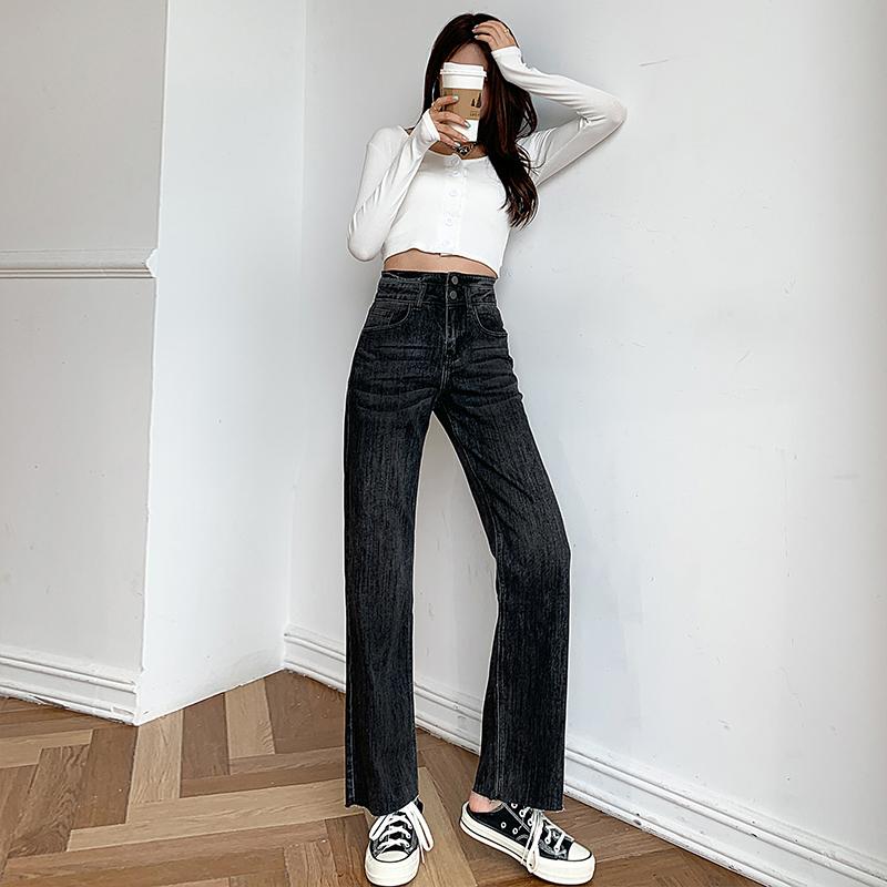 高腰闊腿牛仔褲女寬松2021年秋季新款百搭顯瘦直筒褲春秋拖地褲子