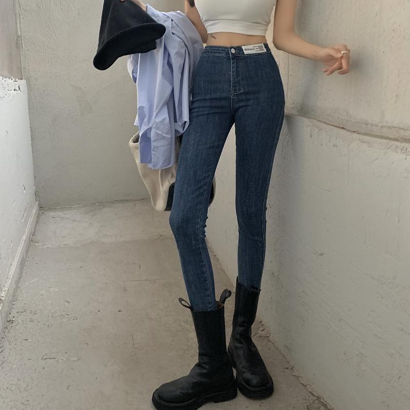 實拍實價 秋冬高腰牛仔褲百搭洋氣顯瘦顯高緊身小腳褲女潮