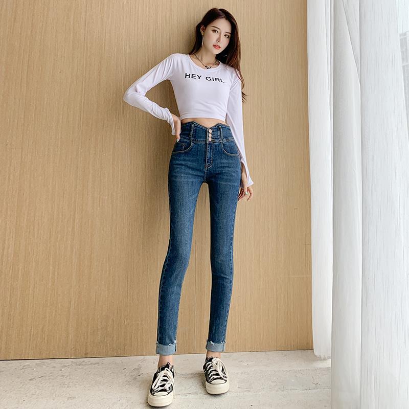 實拍高腰牛仔褲女2021新款春秋季彈力鉛筆長褲顯瘦緊身小腳褲女