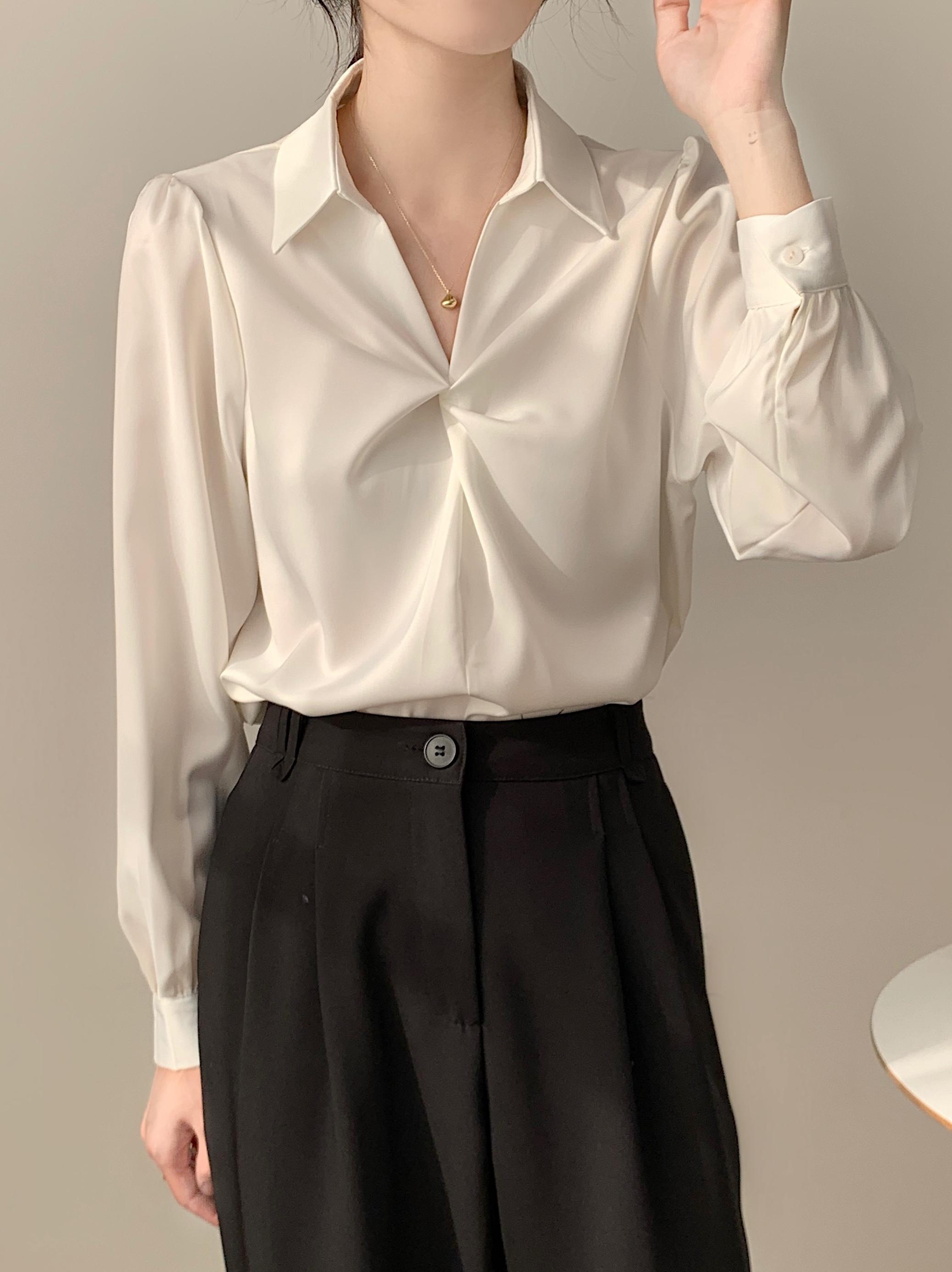 白色襯衫女設計感小眾2021年春秋新款雪紡上衣通勤面試正裝襯衣