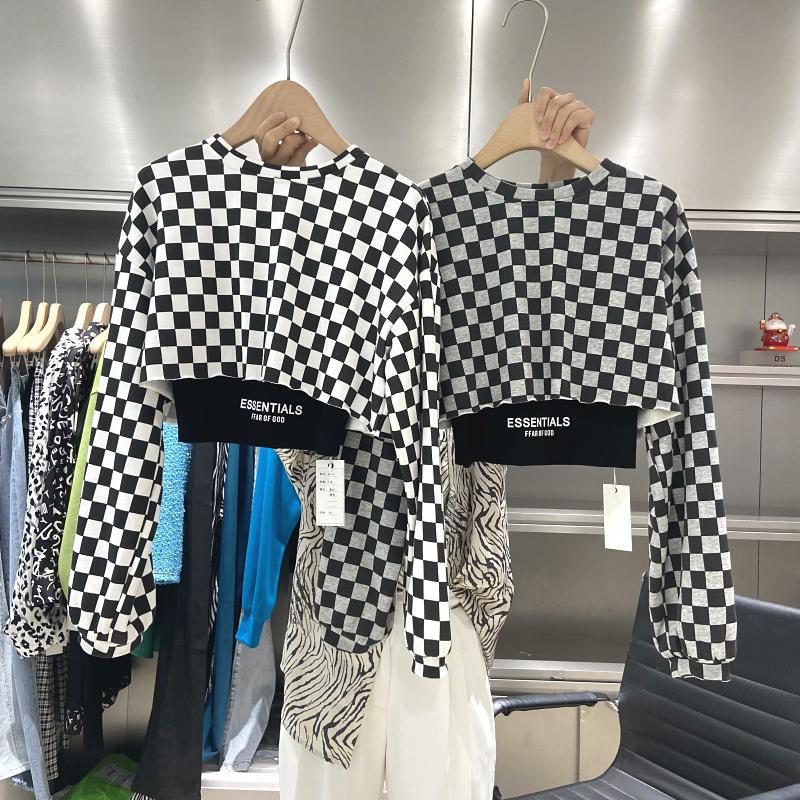 秋季韓版新款格子短款衛衣女 寬松設計感小眾疊穿上衣兩件套