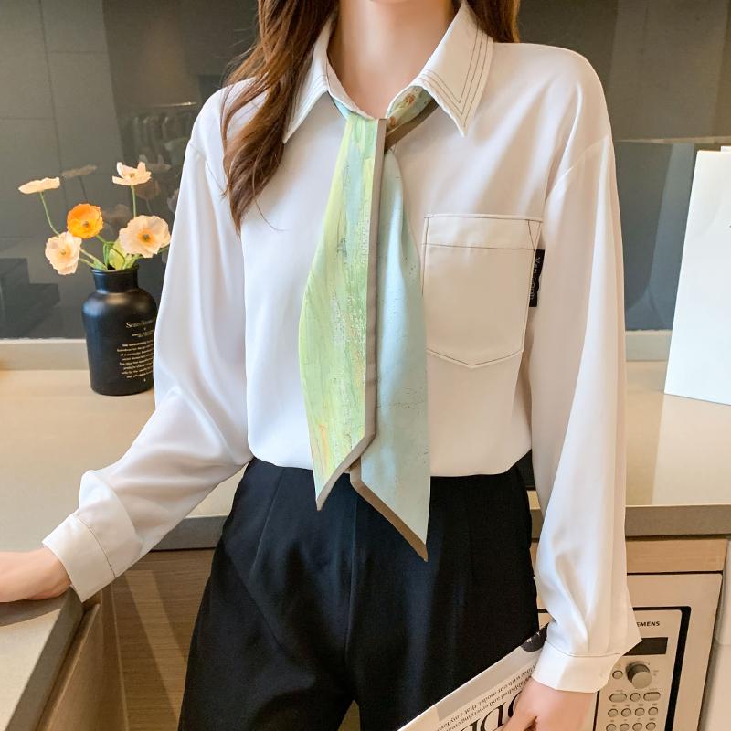 实拍梵高博物馆气质撞色明线衬衫女2021秋新款可拆卸飘带衬衣