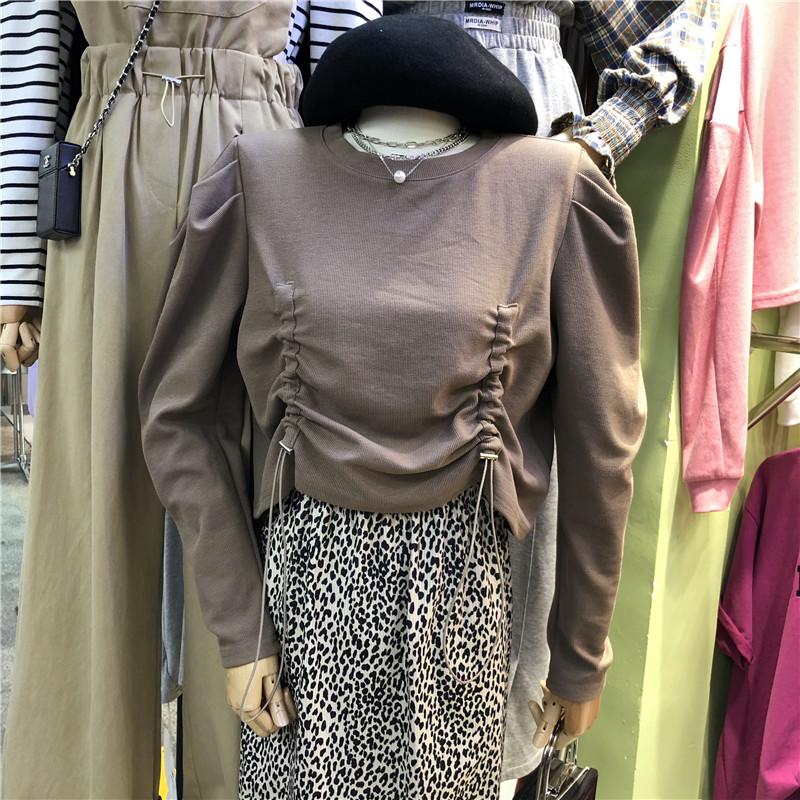 秋季新款套頭黑色長袖抽繩設計感圓領泡泡袖T恤女上衣