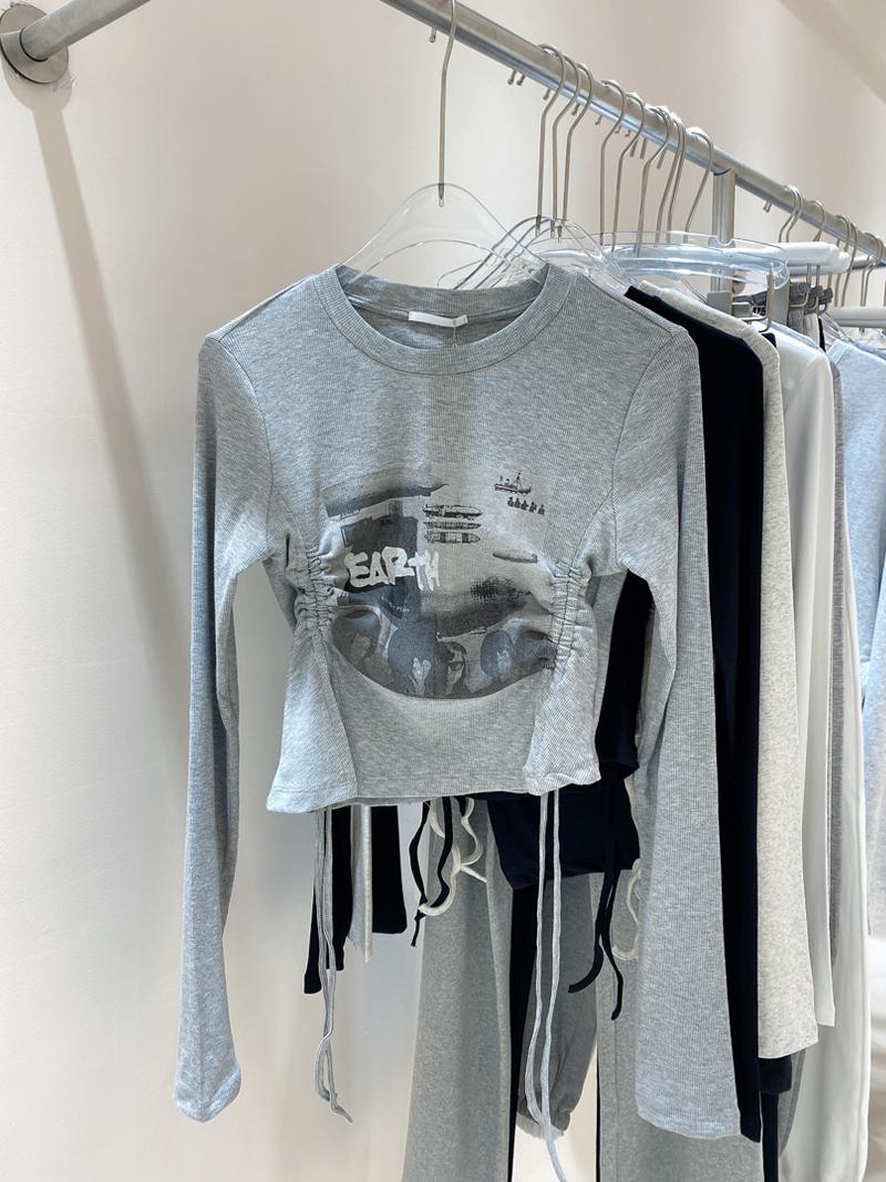韓國東大門早秋新款印花抽繩開叉顯瘦設計感修身長袖T恤女