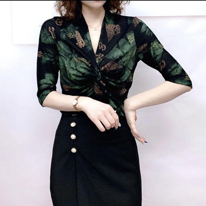 打底衫女中袖初秋上衣新款洋氣V領印花彈力小衫氣質顯瘦中年媽媽