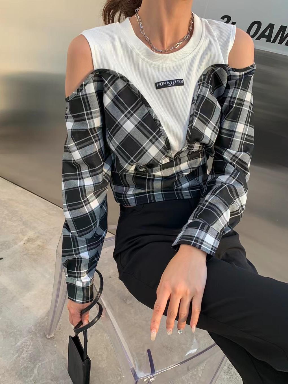 秋季新款收腰短款露肩拼接格子長袖T恤上衣女設計感小眾