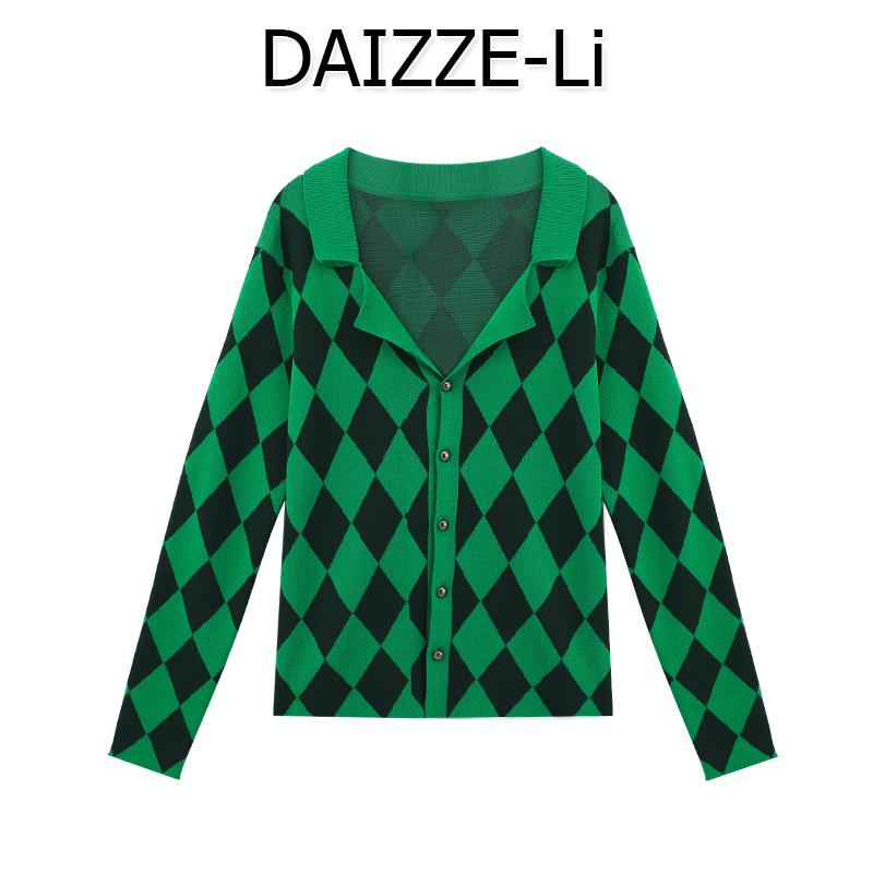 DAIZZE 2021秋新薄款Polo領長袖開衫外套菱格針織棋盤格女上衣潮