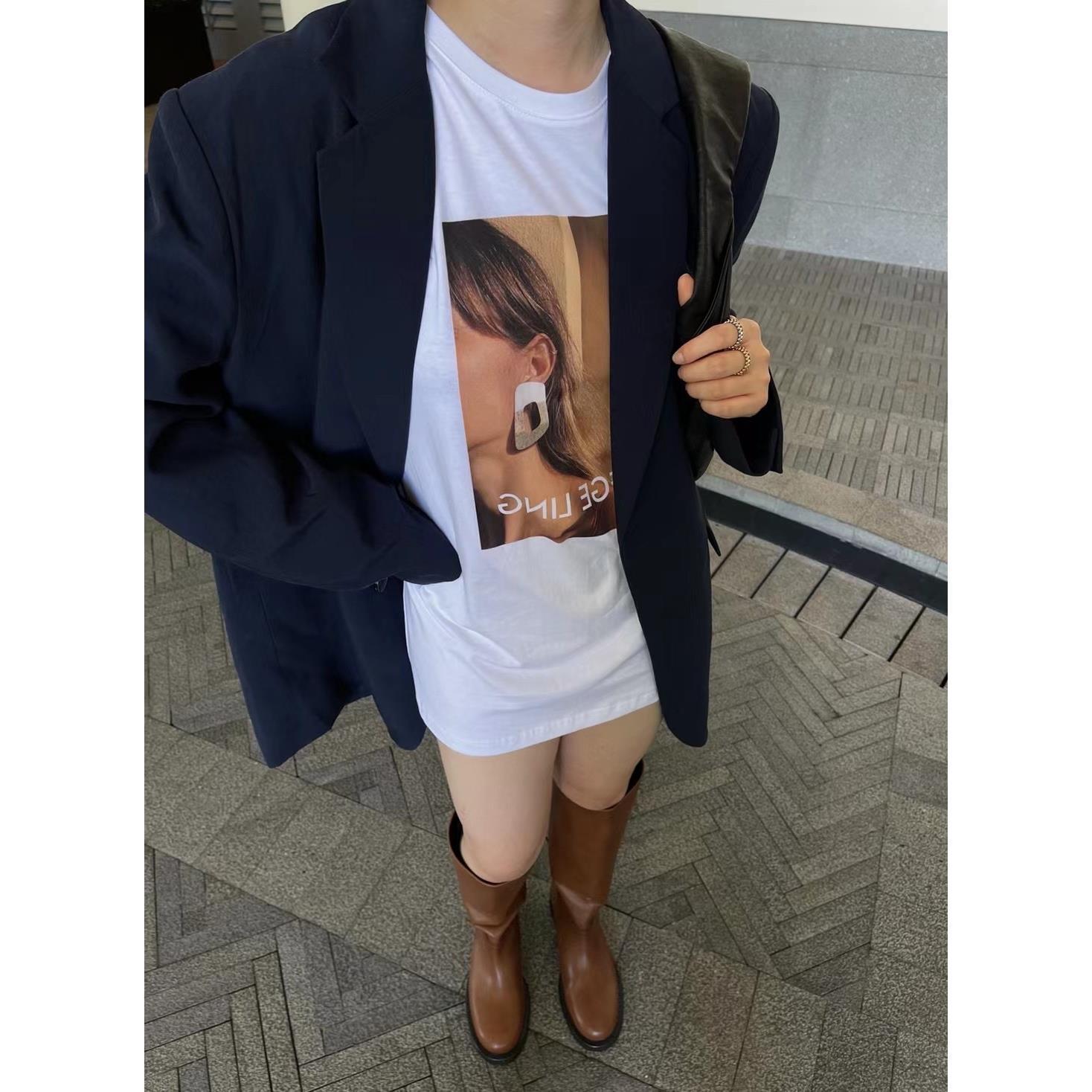 早秋新款韓版網紅超火氣質百搭復古歐美印花上衣寬松短袖T恤