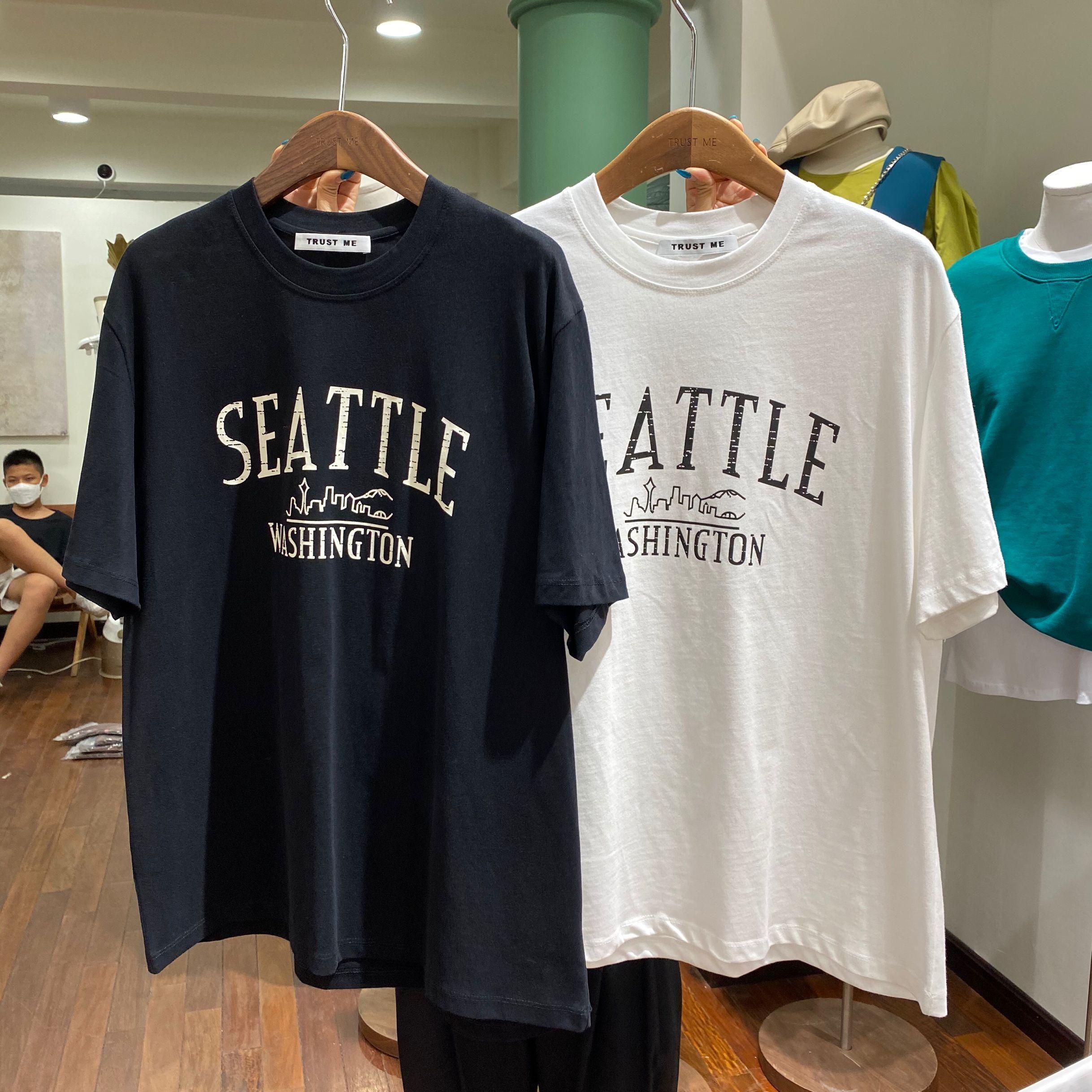 秋季韓版新款復古字母磨毛寬松顯瘦圓領短袖T恤女