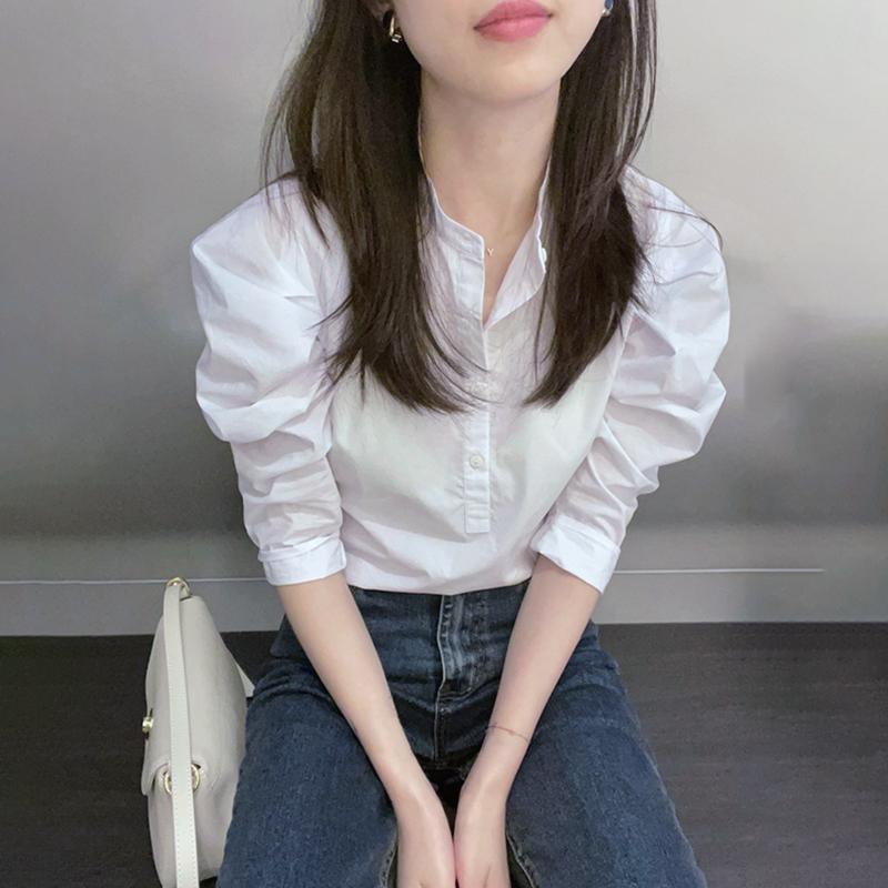 白色衬衫新款2021年薄款高级感别致上衣设计感小众法式复古衬衣