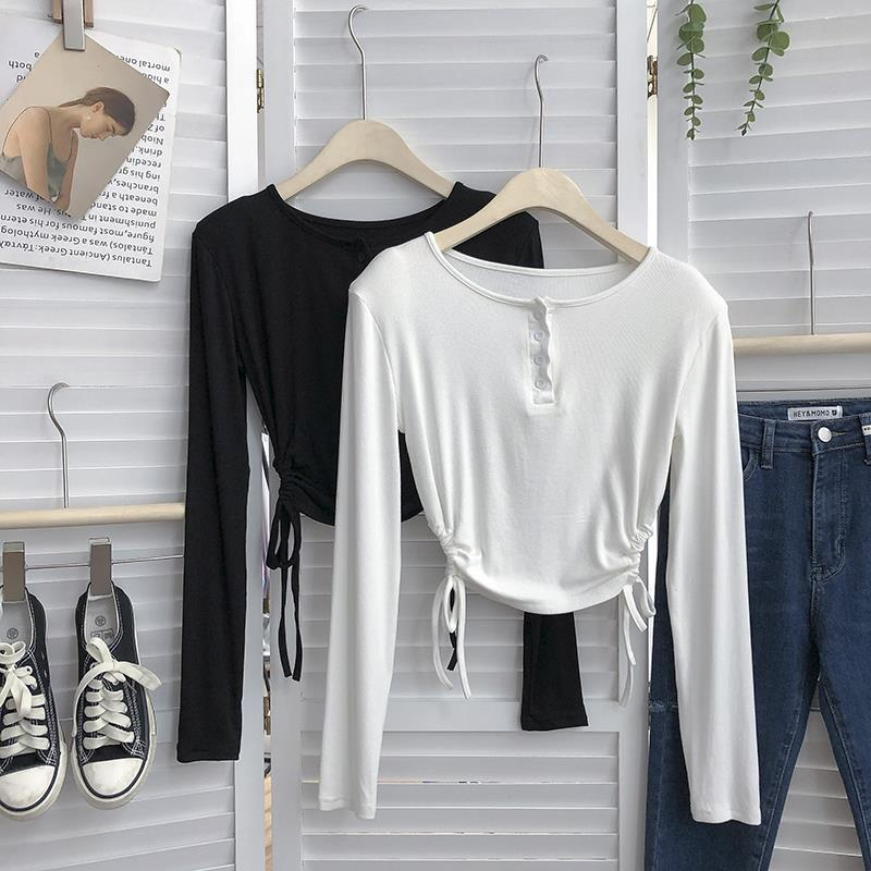 秋季韓版不規則兩側抽繩系帶圓領純色T恤衫女款套頭上衣潮