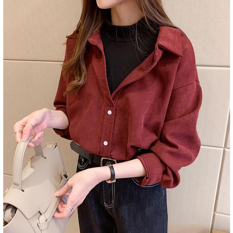 假两件衬衫女秋冬新款港味复古设计感小众上衣叠穿灯芯绒打底衬衣