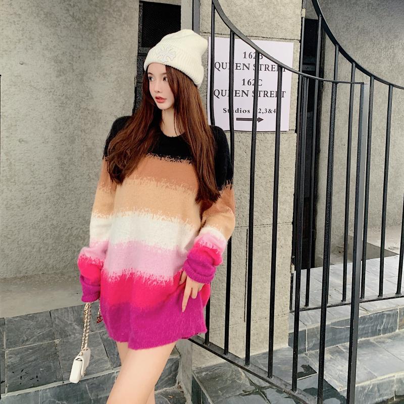 實拍實價 新款秋冬慵懶風寬松顯瘦中長款彩虹條毛衣針織衫