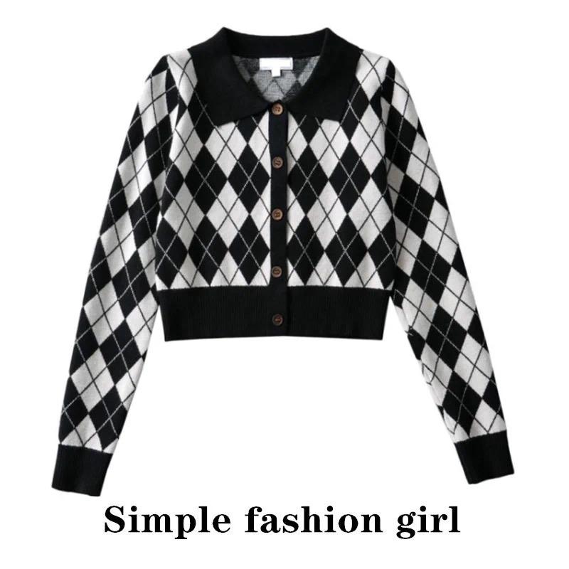 simple21秋新款 美式复古长袖格纹polo针织衫修身短款显瘦显腿长