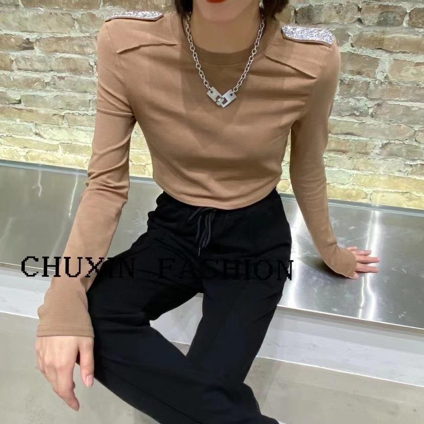 秋季新款時髦亮鉆設計圓領短款修身長袖T恤女潮