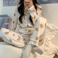 实拍实价 韩国小熊睡衣女ins风秋冬长袖长裤两件套豹纹翻领家居服