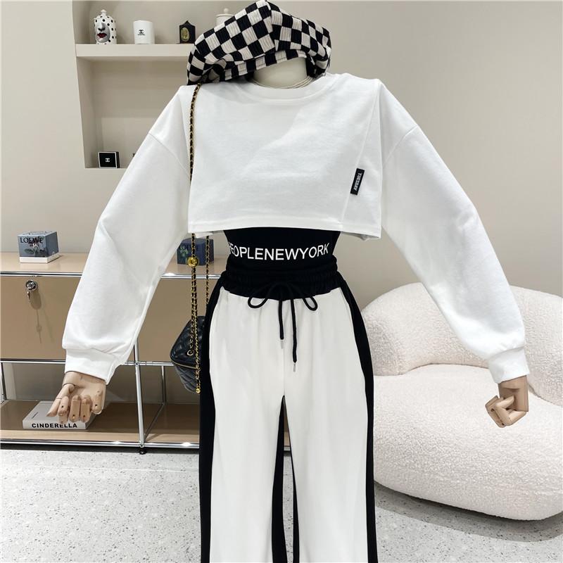 秋季新款高腰短款罩衫上衣內搭字母印花卷邊吊帶背心兩件套女