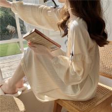 实拍实价 女士睡衣家居服甜美蝴蝶结女士睡裙可爱长袖睡袍