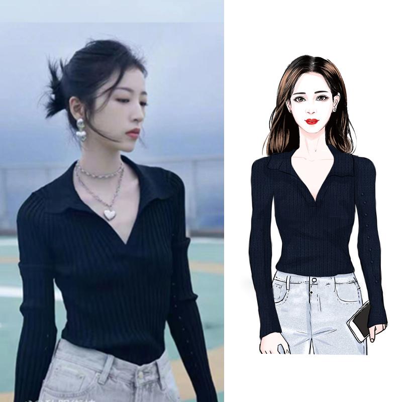 D273#官图实价 黑色针织衫上衣女2021秋新显瘦法式气质polo衫毛衣
