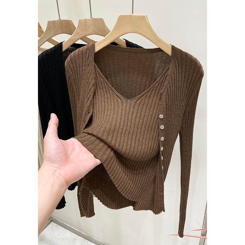D274#官圖實價 假兩件針織外套女裝秋新款上衣2021秋裝薄款打底衫