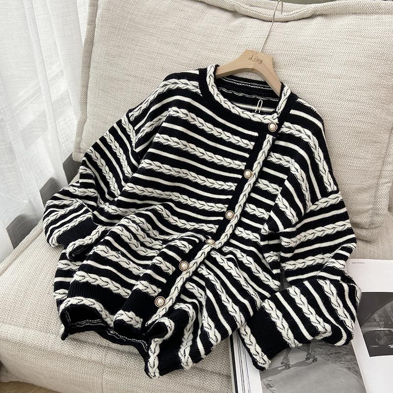綿羊絨D279#官圖實價 秋季韓版洋氣黑白絞花寬松慵懶毛衣條紋外套