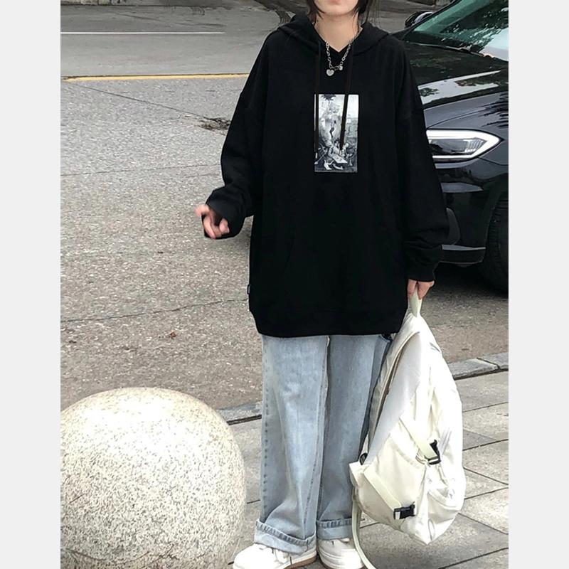 特價D3206#官圖實價290克定制毛圈面料寬松個性印花連帽長袖衛衣