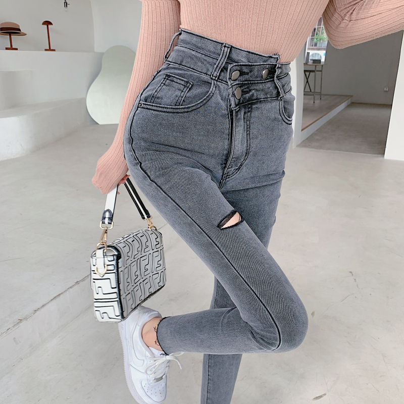 實拍實價 韓版小眾設計感彈力長褲女高腰修身復古牛仔褲潮
