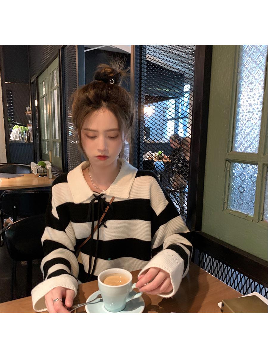 珍珍家条纹针织衫女2021秋季新款复古POLO领毛衣设计感慵懒风上衣
