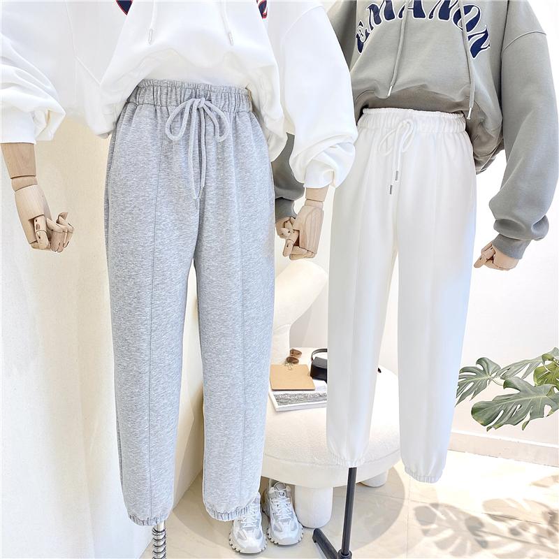 特價K810#官圖(290克定制好面料)寬松運動褲束腳褲顯瘦衛褲女